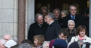 Vincent Browne pictured at the funeral of Judge Donal Barrington at St Patrick's Church, Monkstown Co Dublin. Photograph: Stephen Collins/Collins Photos