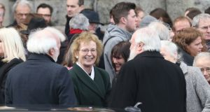 Former president Mary Robinson pictured at the funeral of Judge Donal Barrington at St. Patrick's Church, Monkstown Co Dublin. Photograph: Stephen Collins/Collins Photos