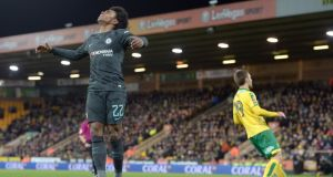 Chelsea's Willian reacts after a missed chance during the FA Cup third round match against Norwich at Carrow Road. Photo: Joe Giddens/PA Wire