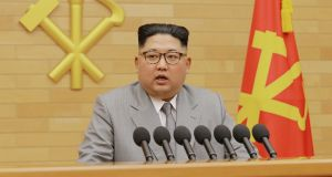 North Korea's leader Kim Jong Un speaks during a New Year's Day speech in this photo released by North Korea's Korean Central News Agency (KCNA) in Pyongyang. Photograph: KCNA/via REUTERS