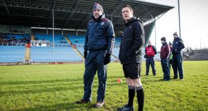 Galway Manager Kevin Walsh with referee Paddy Neilan before the postponement of the FBD Connacht League clash between Mayo and Galway in Castlebar. Photo: Ryan Byrne/Inpho
