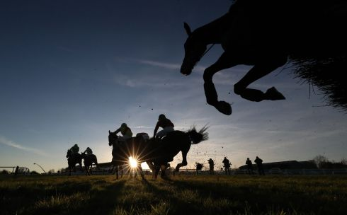 The field in The Adare Manor Opportunity Handicap Hurdle during Winter Ladies Day at Naas Racecourse. Photograph: PA