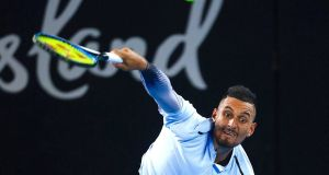 Australia's Nick Kyrgios serves during his final match against American Ryan Harrison. Photograph: Patrick Hamilton/Reuters
