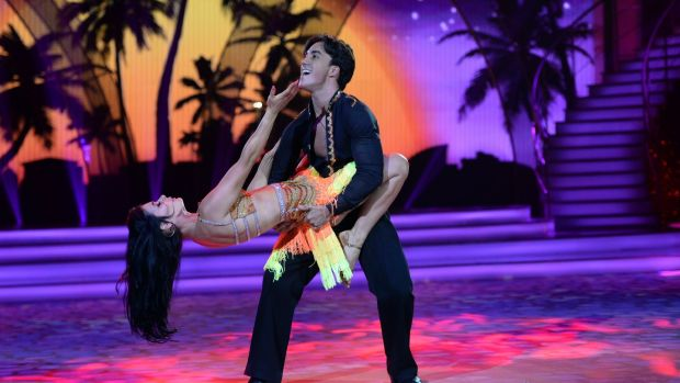 Jake Carter and Karen Byrne dancing the salsa on Dancing with the Stars. Photograph: Cyril Byrne