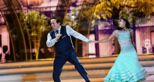 Marty Morrissey with Ksenia Zsikhotska dancing the quickstep during the first live show of RTÉ's Dancing with the Stars. Photograph: Cyril Byrne