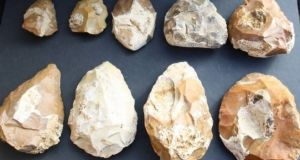 Evidence of primitive stone tools uncovered in Israel. Photograph: Tel Aviv University