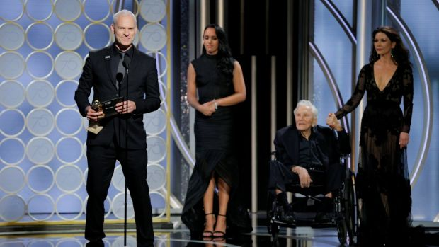 "Martin McDonagh accepting the award for Best Screenplay Motion Picture for ""Three Billboards Outside Ebbing, Missouri"". Photograph: Paul Drinkwater/Courtesy of NBC/Retuers"