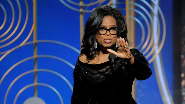 Oprah Winfrey speaks after accepting the Cecil B. Demille Award at the 75th Golden Globe Awards. Photograph: Paul Drinkwater/Courtesy of NBC/Retuers