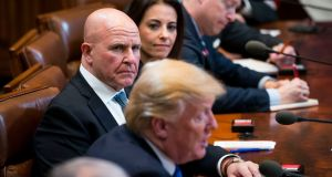 HR McMaster, the national security adviser, looks on as President Donald Trump speaks during a bilateral meeting in Seoul, South Korea, November 7th, 2017. Photograph: Doug Mills/The New York Times