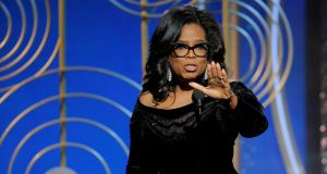 Oprah Winfrey speaks after accepting the Cecil B Demille Award at the 75th Golden Globe Awards in Beverly Hills, California. Photograph: Paul Drinkwater/NBC/Reuters