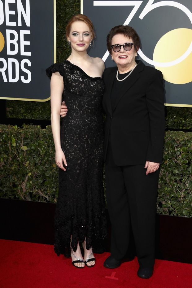 Emma Stone and Billie Jean King at the 75th Annual Golden Globe Awards. Photograph: Frederick M Brown/Getty Images