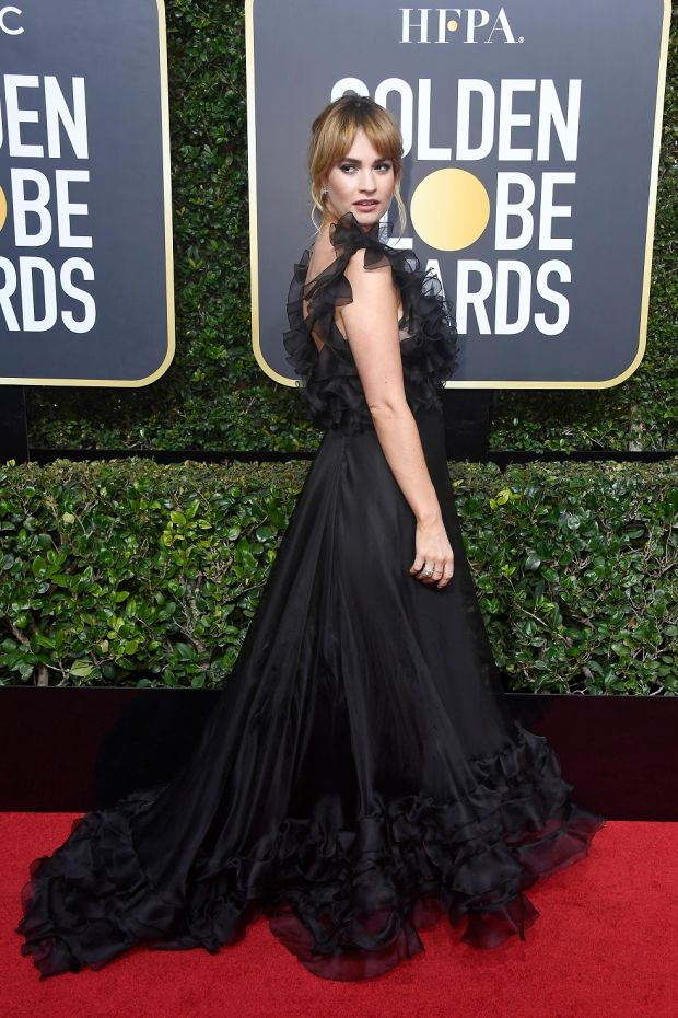 Lily James at the 75th Annual Golden Globe Awards. Photograph: Frederick M Brown/Getty Images