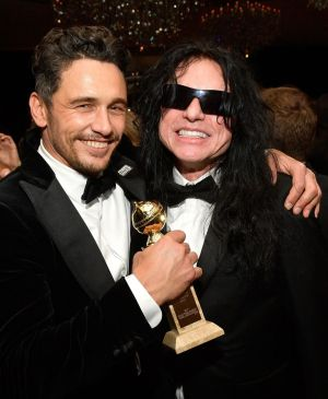 Actors James Franco, who won the Golden Globe for best actor for The Diaster Artist, and Tommy Wiseau at the Warner Bros after party in Beverly Hills. Photograph: Matt Winkelmeyer/Getty Images