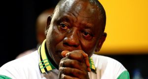 "Deputy president of South Africa and new head of the ANC, Cyril Ramaphosa.  ""We do not want a divided African National Congress,"" he said.  Photograph:   Siphiwe Sibeko/Reuters"