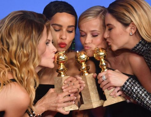 Laura Dern, Nicole Kidman, Zoe Kravitz, Reese Witherspoon and Shailene Woodley pose with the best TV series Golden Globe award for Big Little Lies during the 75th Golden Globe Awards on January 7the, 2018, in Beverly Hills. Photograph: Frederic J. Brown/AFP/Getty Images
