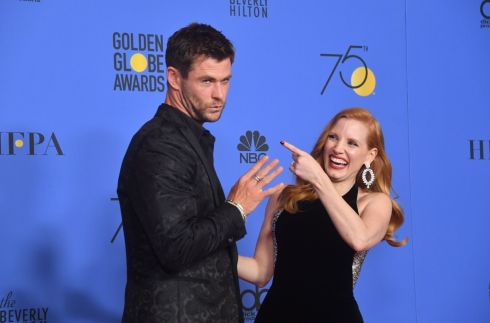 Jessica Chastain and Chris Hemsworth in the press room  during the Golden Globe Awards. Frederic J. Brown/AFP/Getty Images
