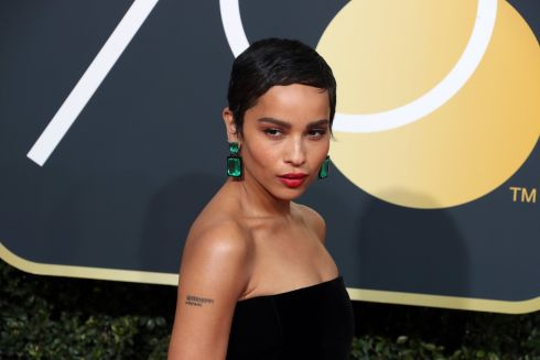 epa06424681 Zoe Kravitz arrives for the 75th annual Golden Globe Awards ceremony at the Beverly Hilton Hotel in Beverly Hills, California, USA, 07 January 2018.  EPA/MIKE NELSON