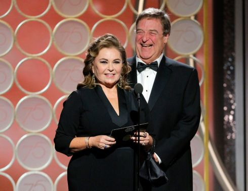 Roseanne Barr and John Goodman during the Golden Globes ceremony. Photograph: AP