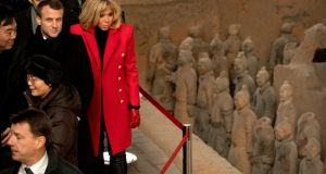 French president Emmanuel Macron and his wife Brigitte at  the Museum of Terracotta Warriors in Xian, in northwestern China's Shaanxi Province on Monday. Photograph: Mark Schiefelbein/AFP/Getty Images