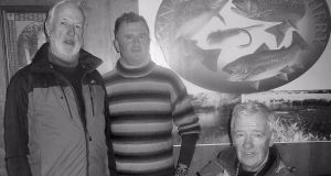 At the charity event at Annamoe Fisheries were, from left, Brian Nally (proprietor); Ronan Meghen (winner) and Stuart McGrane (organiser)