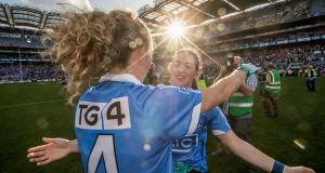 Dublin's Rachel Ruddy and Lyndsey Davey celebrate at the final whistle of last year's All-Ireland final at Croke Park. Photograph: Morgan Treacy/Inpho