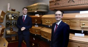 "Funeral directors Simon and Stuart Collier at their premises on Old Connaught Avenue, Bray, Co Wicklow. ""You need an eye for it,"" says Stuart of preparing the deceased for burial. Photograph: Cyril Byrne"