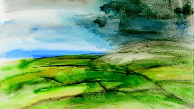 Green Fields, watercolour, 1991, by Dietrich Blodau