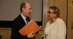 Shane Ross with Donna Price in 2017. The Minister has appointed Ms  Price and Gillian Treacy, who he said were active in the area of road safety advocacy, to the board of the RSA. Photograph: Alan Betson