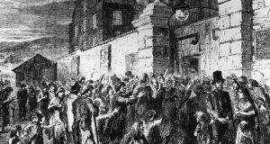 Starving peasants clamour at the gates of a workhouse during the Great  Famine in 1846. Photograph: Hulton Archive/Getty Images