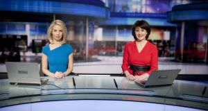 New RTÉ Six One News presenters Caitríona Perry (left) and Keelin Shanley before Monday's broadcast. Photograph: RTÉ