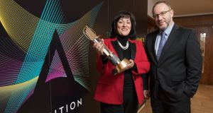 Anne Heraty, chairwoman of the judging panel  and Kevin McLoughlin, partner, EY at  the launch of the EY Entrepreneur Of The Year, 2018. The nomination window for this year's programme is open until February 16th. Photograph: Naoise Culhane
