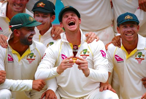 ASHES: Australia's captain Steve Smith celebrates at the SCG in Sydney where his side secured a fifth Ashes victory to complete a 4-0 trouncing of England. Photograph: David Gray/Reuters