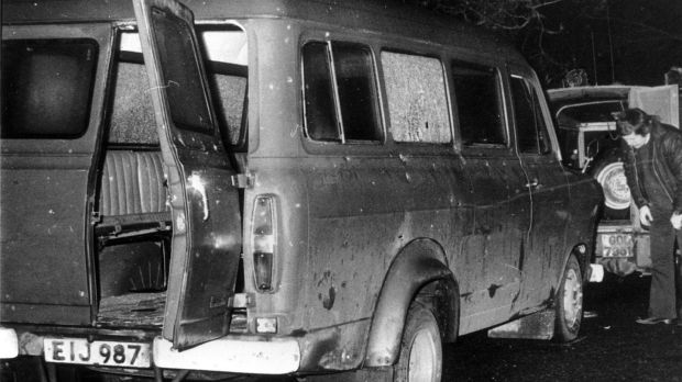 The bullet-riddled minibus near Kingsmill in south Armagh where 10 Protestant workmen were shot dead by the IRA in 1976. File photograph: PA Wire