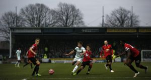Yeovil Town hosted Manchester United in an FA Cup third-round tie in 2015. Photograph:  Adrian Dennis/AFP/Getty Images)