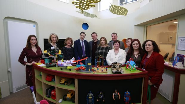 Health Minister Simon Harris with parents at the opening of the new play area for children and an adolescent's at St. Luke's Hospital, Rathgar, Dublin. Photograph Nick Bradshaw