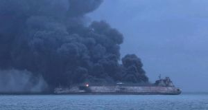 Panama-registered tanker 'Sanchi' on fire after a collision with Hong Kong-registered freighter 'CF Crystal,' off China's eastern coast. Photograph: South Korean CoastGuard/EPA