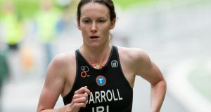 Ailbhe Carroll competing in the Dublin City Triathlon