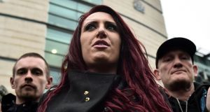 Britain First deputy leader Jayda Fransen addresses the media outside Belfast Laganside Magistrates.  She will face trial in April. Photograph:  Charles McQuillan/Getty Images