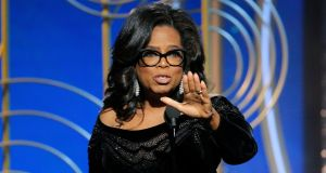 Oprah Winfrey making that speech at the  Golden Globes,  January 7th. Photograph: Paul Drinkwater/NBC via AP