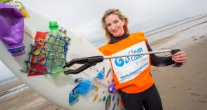 Easkey Britton launching Ireland's Biggest Ever Beach Clean Event last year. Photograph: Naoise Culhane