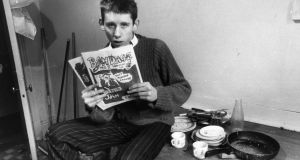Shane MacGowan aged 19, editor of punk rock fanzine Bondage in his office  in London. Photograph: Sydney O'Meara/Getty Images
