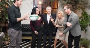 Six Nations panellist Shane Horgan with 'Ireland's Got Talent' judges Michelle Visage, Louis Walsh, Denise Van Outen and Jason Byrne at the TV3 Group spring launch. Photograph: Paul Sharp/SharpPix