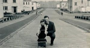 Marianne Elliott and her father in the White City estate in Belfast