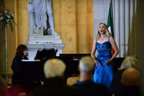 Maria McGrann, soprano, with Pianist Aoife O'Sullivan, at the Opera Marathon: 300 years of opera in three hours, at Dublin City Hall, to celebrate the announcement of the Irish National Opera 2018 programme. Photograph: Dara Mac Donaill/The Irish Times