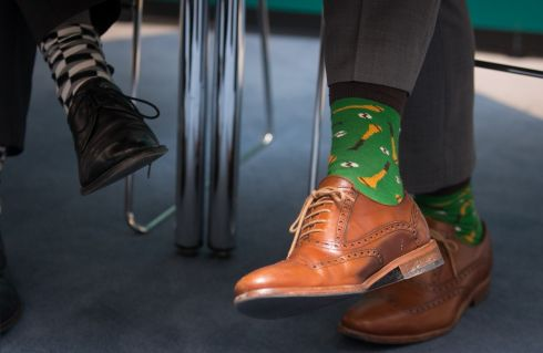 Socks worn by Minister for Finance Paschal Donohoe (right) and those worn by Minister of State for Public Procurement Patrick O'Donovan during as press conference today. Photograph: Gareth Chaney/Collins