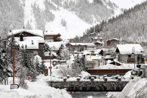 Snow covers the village of Val d'Isere as the main road leading into the village is closed due to an avalanche alert in the French Alpes. Photograph: Jean-Pierre Clatot/Getty Images