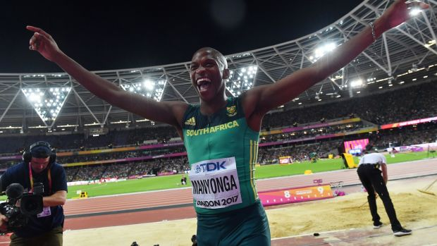 South Africa's Luvo Manyonga celebrates after winning the gold medal in the long jump at the 2017 World Championships in London. Photograph: Andrej Isakovic/AFP/Getty Images