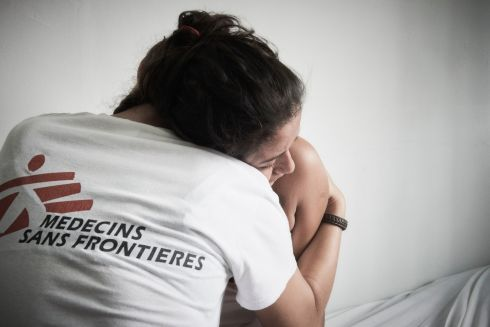September 2017 - Cinthya, 18, receives a hug from an MSF nurse at the Choloma clinic for medical and mental healthcare, after suffering domestic violence. She is two months' pregnant. MSF is supporting a mother and child clinic in Choloma, a rapidly expanding industrial area now the third most populous city in Honduras and notorious for its high level of violence.  Photograph: Christina Simons/ MSF
