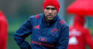 Simon Zebo during a Munster training session at UL on Tuesday. Photograph: Bryan Keane/Inpho