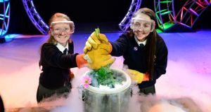Clodagh Clarke and Abbie Cassidy, students from Ringsend College in Dublin,  at the BT Young Scientist of the Year exhibition at the RDS on Tuesday. Photograph: Cyril Byrne